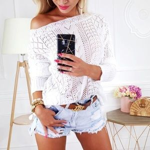 Sweaters - White Crochet Sweater Top
